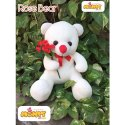 Polyster Fiber Fur White Teddy Bear With Rose Flowers, For Interior Decor