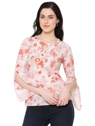 Yash Gallery Women's Cotton Floral Print Western Top
