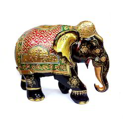 Black And Gold Wooden Painting Elephant