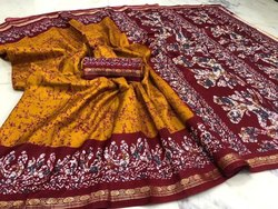 Maroon Party Wear Batik Silk Saree