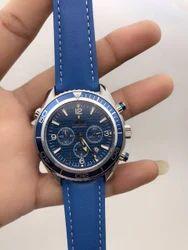 Omega Men Blue Chronograph Watch