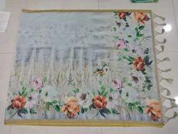 Golden border lenin digital printed saree