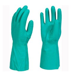 Green Rubber Nitrile Hand Gloves