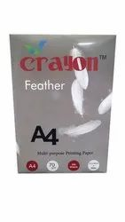 Plain 70 GSM Crayon Feather A4 Printing Papers