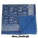 Indian Reversible Hand Block Print Kantha Bedspread