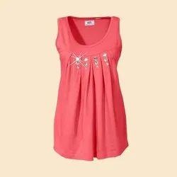 Cotton Printed Ladies Sleeveless Top, Size: S-XXL