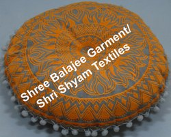 Yellow 100 % Cotton Round Embroidered Cushions, Size: 16 Inch (40 Cm)