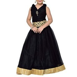 Wedding Wear Black Kids Sleeveless Gown, Age: 4-12 Years