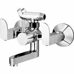 Modern Double Handle Wall Mixer with Crutch Hand Shower