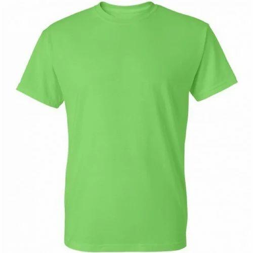 184e09d9d Men's Cotton Round Neck Light Green Plain T-Shirt, Size: S-4XL, Rs ...