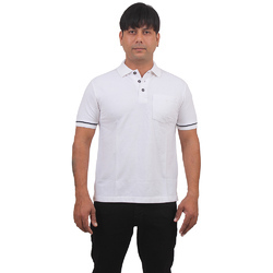 White Cotton Mens Polo T Shirt
