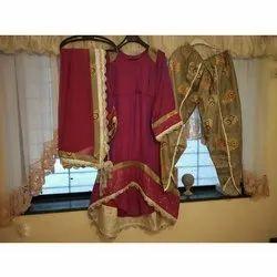 silk designer Ladies Maroon Round Neck Party Wear Suit, Handwash