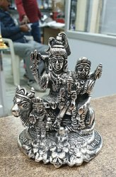 Silver Plated Shiv Parvati Idol
