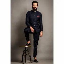 Plain Navy Blue Men Jodhpuri Suit
