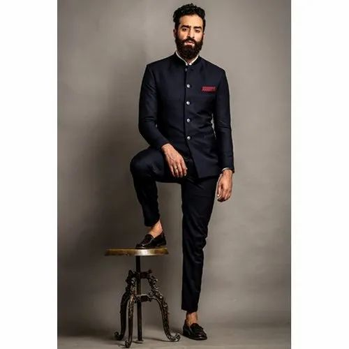 Plain Navy Blue Men Jodhpuri Suit Rs 9500 Piece Indian Sherwani Id 21310459430