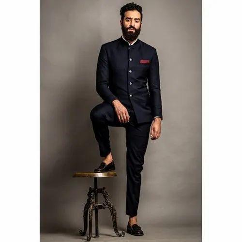 Plain Navy Blue Men Jodhpuri Suit Rs 9500 Piece Indian Sherwani Id 21310459430