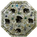 Marble Inlay Elephant Design Dining Table Tops