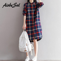 Korean Fashion Plaid Shirt Dress Spring Autumn 2018 Loose Preppy Long Sleeve