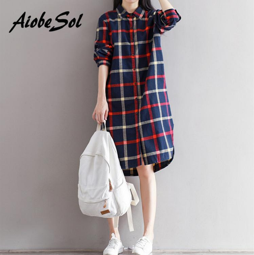 limited sale choose genuine rich and magnificent Korean Fashion Plaid Shirt Dress Spring Autumn 2018 Loose Preppy Long Sleeve