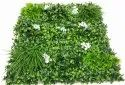 Artificial Grass Wall With White Flowers