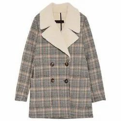 Party wear Slim Fit Ladies Woolen Checked Coat, Size: Large