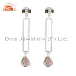 Handmade 925 Sterling Fine Silver Bio Tourmaline Gemstone Earring