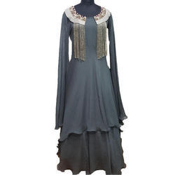 Ladies Georgette Round Neck Western Dress