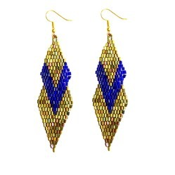 TIARAA Anniversary , Wedding Gloden Glass Glittering Fashion Earrings