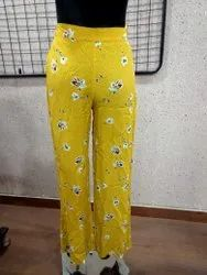 Yellow Ladies Printed Trouser