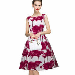 Cotton Sleeveless Ladies Floral Short Dresses, Size: S-Xxl