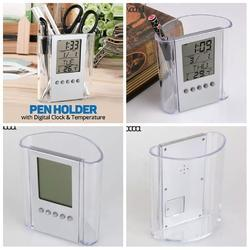 White Pen Holder with Digital Clock & Temperature