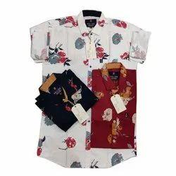 Regular Wear Printed Mens Designer Cotton Shirt, Machine wash, Size: M-xl