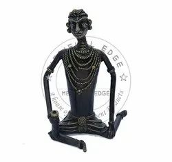 Unique Black Tribal Man Brass Showpieces, Size: Length- 3 Inch, Height- 6 Inch