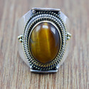 925 Silver And Brass Jewelry Tiger Eye Gemstone Adjustable Nice Ring Wr-5816