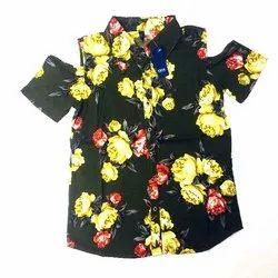 Full Sleeve Linen Floral Printed Ladies Shirt