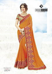 Indian Women Orange Two Tone Georgette Sarees