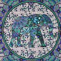 Queen Elephant Printed Blue Mandala Wall Hanging