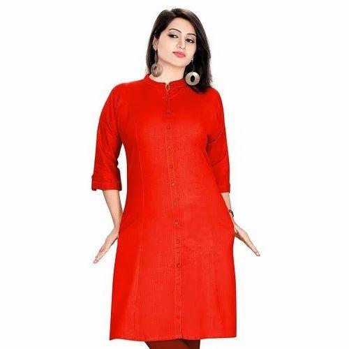 b1443d9f15 Red Cotton Stretchable Kurti, Size: S, M & L, Rs 385 /piece | ID ...