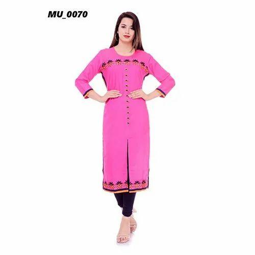 Cotton A-Line Pink Printed Ladies Kurti, Machine wash, Size: S-XXL