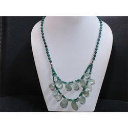 Green Amethyst and Aventurine Gemstone Beaded Necklace