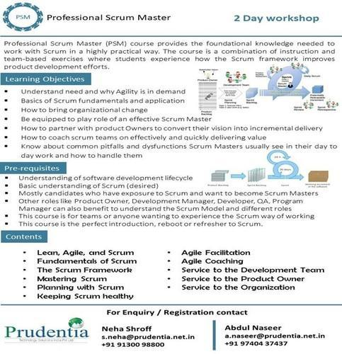preparatory course on professional scrum master certification in
