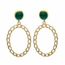Green Onyx Hoop Earring