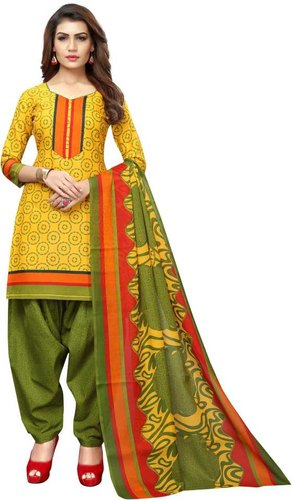 Yellow And Green Digital Printed Cotton Suit
