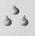 Round Charm Pendant Natural Diamond Charms in 925 Sterling Silver
