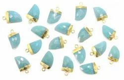 Amazonite Gold Electroplated Horn Pendant