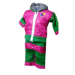 Pink And Green Woolen Kids Winter Baba Suit
