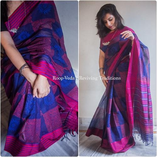 41aec5fae21c6 Pink And Blue Cotton Saree at Rs 1500  piece