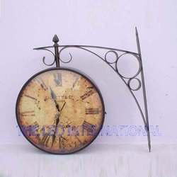 Rustic Color Antique Station Clock Double Sided
