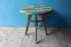 K D Craft Exports Rustic Multi Color Round Vintage Dining Table