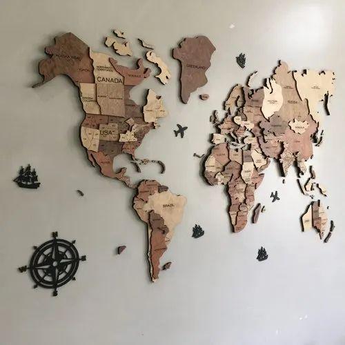 Wooden World Map 3d (Wall As Base)